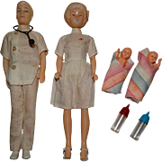 SOLD Vintage 1960s Clone Dr. Kildare & Nurse Dolls w/Twin Babies