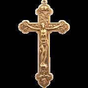 Rare Antique Gorham Gold Cross Crucifix Pendant Large Magnificent Jesus Christ Pendant