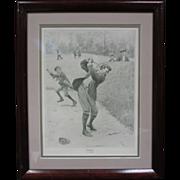 """SOLD Vintage Framed """"Temper"""" A.B. Frost Golf Print"""