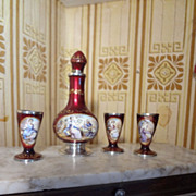 SOLD Austrian Enamel and Silver Hand Painted Miniature Wine Set