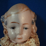 """SALE 5"""" All Bisque German Jointed Doll with Blue Bows"""