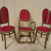 Doll House Bentwood Rocker and Two Chairs