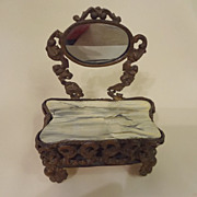 SALE Doll House Ormolu  Dressing Table with Mirror and Faux Marble Top