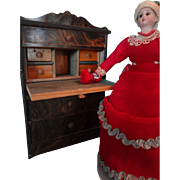 Doll House Biedermeier  Drop Front Desk Grain Painted with Three Drawers