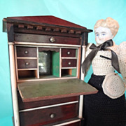 SALE German Large Scale Doll House Drop Front Desk