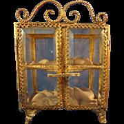 Miniature Antique Beveled Glass and Ormolu Showcase