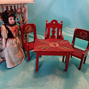 Paint Decorated Folk Art Table and Three Chairs
