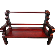 Miniature Mahogany Bench with Scroll Arms and Fine Herringbone Inlay