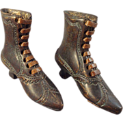 Pair of Bronze Metal Boots with Leather Soles and Laces