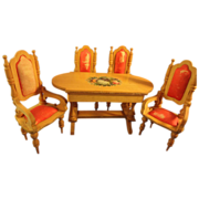 French Fruitwood Dining Suite Table Four Chairs Silk Upholstery