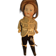 "6 1/2"" Bisque Boy in Original Uniform with Sword"