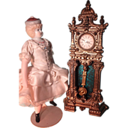 Doll House Gilt Metal Tall Case Clock