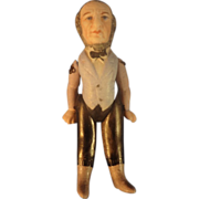 """3 1/4"""" All Bisque Man with Moulded and Painted Clothes Features"""