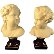 SALE Pair of German Bisque Busts of Children with Cobalt Bases