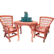 American Girl Doll Furniture Rattan Table and Two Chairs