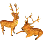 Pair German Metal Deer