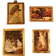 Four Doll House Framed Pictures