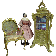 Dore Bronze and Hand Painted Silk Miniature Chair for French Fashion
