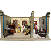 Gottschalk Antique Double Room Box with Three Windows for French Fashion Dolls