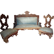 Antique German Doll House Sofa and Two Chairs