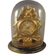 SALE Ormolu Shelf Clock under Glass for Doll House