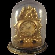 SALE Ormolu Shelf Clock under Glass for Doll House