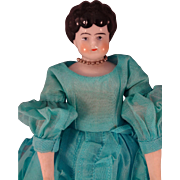 """10"""" Black Hair China in Turquoise Organdy Dress"""