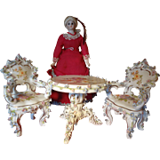 Dresden Miniature Table and Two Chairs Parlor