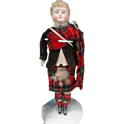 Antique Bisque Scottish Boy in Original Tartan Costume