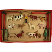 German Farm Animal Set in Original Box Erkebirge Wood