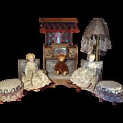 Gottschalk Doll House Parlor Set Settee Chairs Art Deco