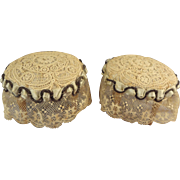 Exquisite Pair of Lace Covered Doll House Stools