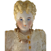 SALE Beautiful Parian Lady with Blonde Sculpted Hair and Earrings