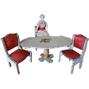 French Doll House Table and Chairs Miniature