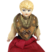 Blonde Hair China Doll House Doll in Regional Attire