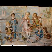 Antique Lithograph Wood Block Puzzle Set