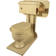 Wood Toilet for Doll House with Paper Roll