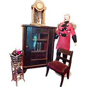 Doll House Kestner Bookcase and Chair