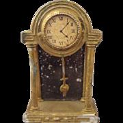 German Gilt Metal Doll House Mantel Clock