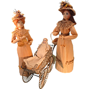 "Pair of Artist Corn Husk Dolls by May Deschamps 9"" and 10"" tall"