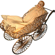 Precious All Bisque Baby in Fancy Soft Metal Pram