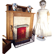 Wood Fireplace from Flora Gill Jacobs Collection with Screen and Bucket Doll House
