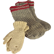 Knit Wool Socks with Red Trim and Mittens