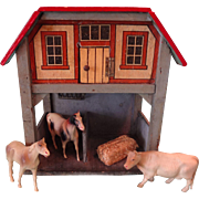 German Red Roof and Litho Stable with Two Stalls and Animals