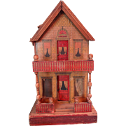Bliss Lithographed Two Room Doll House with Porches in Petite Size