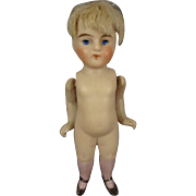 "4"" All Bisque Doll with Pink Socks"