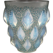 French RENE LALIQUE Crystal Opalescent RAMPILLION Vase Blue Gray Patina Ca. 1927 Signed