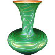 "DURAND Iridescent KING TUT Art Glass Vase ca.1924-31 Signed 9"" Tall"