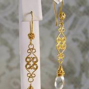 SALE 24K Gold Vermeil & Green Amethyst ( Proselyte ) Wrapped Earrings- Artisan Handmade Jewelr