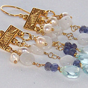SOLD 24K Gold Vermeil Iolite, Moonstone, Aquamarine & Pearl Chandelier Earrings - Jewelry for